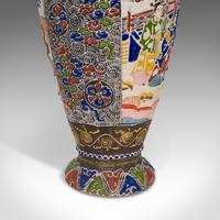 Pair Of Tall Antique Satsuma Vases, Japanese, Ceramic, Decorative, Moriage, 1900 (5 of 12)
