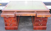 1960's Mahogany Pedestal Partners Desk with Green Leather Top. (2 of 6)