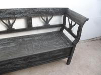A Funkily Painted Black & Grey Antique/Old Pine Kitchen/Hall Box Settle / Bench (9 of 10)
