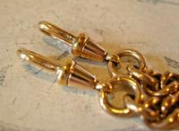 Victorian Pocket Watch Chain 1890 Antique 12ct Rose Rolled Gold Albert & T Bar (10 of 11)