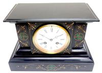 Very Fine French Slate & Marble Mantel Clock Classic 8 Day Striking Mantle Clock (3 of 13)