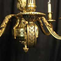 French Gilded Bronze 6 Light Antique Chandelier (6 of 10)