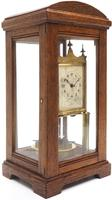 German Gustav Becker for BHA 400-Day Clock With disc pendulum silver & brass dial in Oak Case (8 of 8)