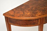 Antique Burr Walnut Demi Lune Console Table (4 of 8)
