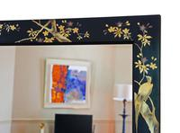 Pair of Black Lacquer Japanese Decorated Wall Mirrors c.1910 (10 of 14)