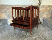 Regency Revival Mahogany Canterbury Sheet Music Magazine Rack with Brass Casters (6 of 11)