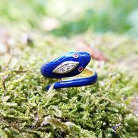Vintage 18ct Gold, Diamond & Ruby Enamelled Serpent Snake Ring