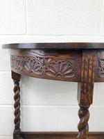 Antique Carved Oak Demi Lune Hall Table (8 of 10)