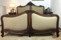 Antique French Bespoke Carved & Upholstered Extra Large Bed Frame (8 of 16)