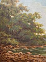 Beautiful Original 1921 Antique Riverscape Landscape Oil Painting (5 of 10)