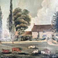 Antique Landscape Oil Painting of Farmhouse with Cows & Sheep (6 of 10)