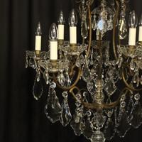 French Gilded Birdcage 11 Light Crystal Antique Chandelier (8 of 10)