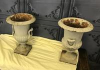 Pair of Cast Iron Garden Urns (3 of 7)