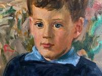 'Boy with Toy' Thomas Sherwood La Fontaine Superb Oil Portrait Painting (6 of 13)