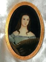 Fine Art Italian School 19th Century Miniature Portrait Countess Noble Lady Oil Painting (7 of 11)