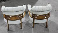 1920s Pair of Mahogany Salon Armchairs in Pale Upholstery (2 of 3)