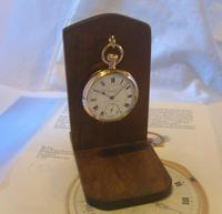 Vintage Wooden Pocket Watch Stand 1940s Dark Oak Robust & Sturdy (3 of 8)