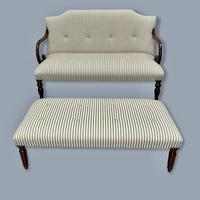 Buttoned Ticking Stripe Sofa & Footstool (10 of 11)