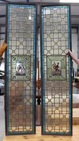 1850's Pair of Stained Glass Panels with Scenes Inset (2 of 4)