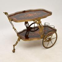 Vintage Italian Brass & Marquetry Drinks Trolley (12 of 14)