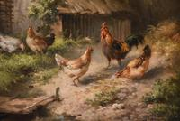 """Oil Painting by Louis Marie Lemaire """"Chickens in a Farmyard"""" (4 of 9)"""