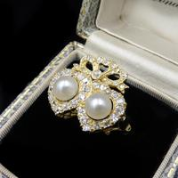 Antique Pearl and Diamond Twin Double Heart Bow 18ct Yellow Gold Ring (3 of 9)