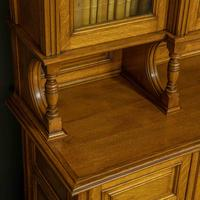 Edwardian Oak Breakfront Bookcase with Open Central Section (10 of 10)