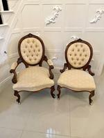 Superb Quality Antique Victorian Pair of Walnut Framed Ladies & Gentlemens Chairs