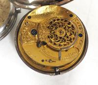 Antique Silver Pair of Case Pocket Watch Fusee Verge Escapement Key Wind Enamel Dial Thomas Cooker Oakham (4 of 12)