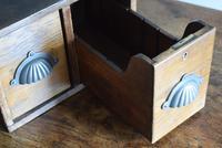 Vintage Mid Century Industrial Oak Bank of Two Drawers (10 of 10)