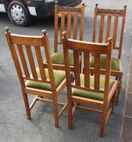 1940's Set 4 Light Oak Highback Chairs with Pop out Seats (3 of 3)