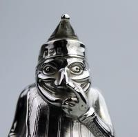 A Rare & Fine Solid Silver Novelty Mr Punch Pepper Shaker William Sparrow C.1903 (6 of 8)