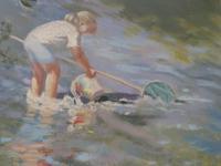 """Pastel Drawing """"Serious Fishing"""" Artist Rachel C. Rowe (4 of 5)"""