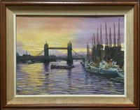 Industrial River Thames - Exceptional Original Vintage Riverscape Oil Painting