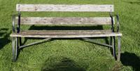 Old Weathered Oak and Iron 6 Bar Garden Bench (4 of 6)