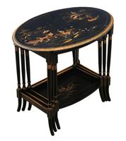 Victorian Oriental Chinoiserie Nest of Decorated Black Lacquer Tables (2 of 10)