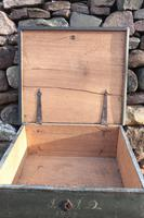 Scandinavian / Swedish 'Folk Art' original paint green/blue large table/alms/bible box raised on feet 1852 (33 of 36)