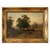 Carl Gustav Rodde, River Landscape at Sunset With Cottages & Villagers