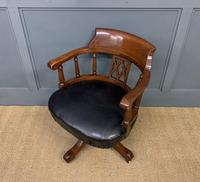 Victorian Mahogany & Leather Revolving Desk Chair (9 of 11)