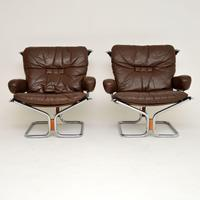 1960's Pair of Leather & Chrome Armchairs by Ingmar Relling (2 of 12)