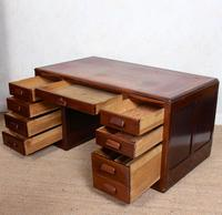 Desk Twin Pedestal Mahogany Leather Art Deco (2 of 12)