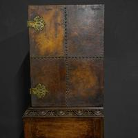 Late Victorian Leather Bound Cupboard on Stand (5 of 10)