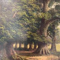Antique Landscape Oil Painting of Deer in Richmond Park Signed JI Lewis (8 of 10)