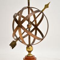 Brass & Teak Armillary Sphere Vintage Table Lamp (4 of 11)