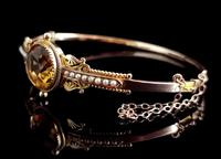 Antique Victorian Citrine & Pearl Bangle, 9ct Gold (9 of 14)