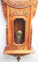 Massive Rare Antique Carved Walnut 8-Day Drop Dial Striking Wall Clock (14 of 14)