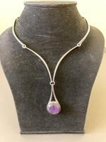 Danish Silver Collier with Amethyst Pendant. 1960s. N E From (3 of 5)