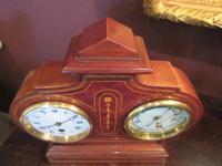 Top Quality Antique Inlaid Clock Barometer (4 of 10)