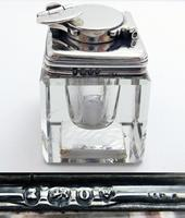 Antique Georgian 1829 Solid Sterling Silver & Glass Travelling Inkwell Ink Pot - 19th Century (2 of 10)