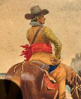 Exceptional Quality 19th Century Miniature Watercolour Painting of Horseman - Cowboy (9 of 11)